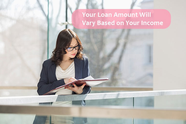 your loan amount will based on your income